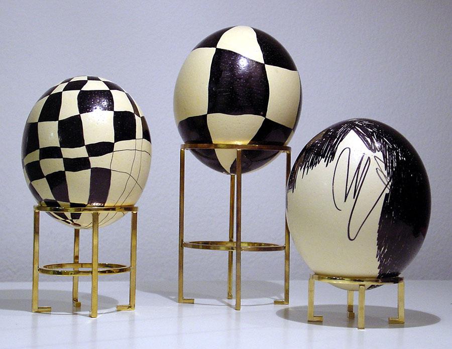 Ostrich Eggs #4c #4b, #3, 2005